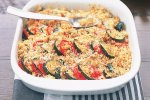 Gratin of zucchini and tomatoes with golden crust