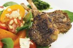 Cumin and coriander crusted lamb cutlets with coriander pistou