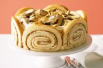Honey roll and white chocolate mousse cake