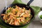 Caserecce with prawns, pancetta & arrabbiata sauce
