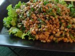 Lentil and Spinach Salad With Onion, Cumin and Garlic