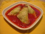 Herbed Ricotta Won Tons W/ Spicy Tomato Sauce