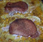 Scalloped Potatoes, Corn and Pork Chop Casserole