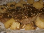 Beef Rib-Eye Roast With Potatoes, Mushrooms and Pan Gravy