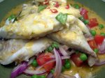 Curried White Fish With Peas and Onions