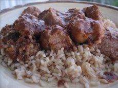 Chili Cranberry Pork over Rice