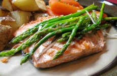 Grilled Garlic Asparagus and Salmon