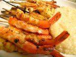 Barbecued Bourbon Shrimp With Cheddar Cheese Grits