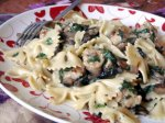 Creamy Pasta With Mushrooms, Spinach, and Peas