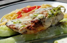 Lime Chicken Linguine W/Cilantro Cream Sauce & Roasted Zucch
