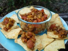 Pita Chips Filled With Spiced Lentils