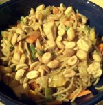Vegetable and Tofu Noodle Bowl With Peanut Sauce