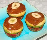 Banana Muffins With Chocolate Peanut Frosting