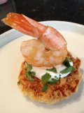 Shrimp on Smoky Potato Corn Cakes