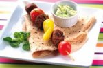 Spiced steak chapatti wraps with raita