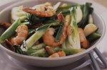 Garlic prawns with pak choi