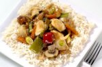 Chicken, veg and spring onion stir-fry