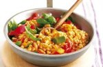 Pumpkin, bean and tomato risotto