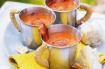 Roasted tomato soup with crispy bacon