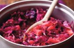 Braised red cabbage with cider and apples