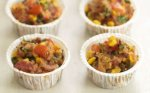 Sweetcorn, tomato and bacon stuffing cakes