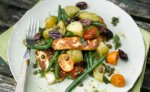 Warm green bean, halloumi and potato salad with olives