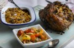Roasted leg of lamb with shallot stuffing