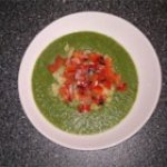 Puree of Green Things Soup with Quinoa and Pepper Relish