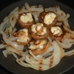 Blue Cheese Stuffed Mushrooms with Grilled Onions