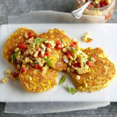 Fresh Corn Cakes with Garden Relish