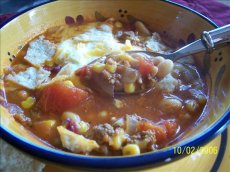 Taco Soup With Beans and Baked Tortillas