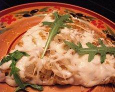 Caramelized Onion, Macadamia Pesto on Wheat Flax Seed Pizza Crus
