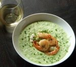 Chilled Cucumber Soup With Shrimp and Goat Cheese