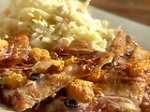 BBQ Shrimp Pizza with Onions, Bacon and Jack Blue Cheese Coleslaw
