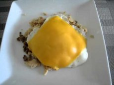 Atkins Induction Diet Breakfast - Day 14 - Fried Egg with Cheese over Ground Turkey & Beef