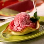 Cranberry Granita in Almond Cookie Cups