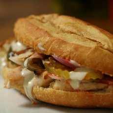 Healthy Grilled Chicken, Red Pepper, and Goat Cheese Sandwich