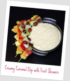 Creamy Caramel Dip with Fruit Skewers
