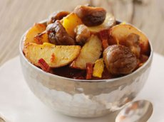 Chestnut Confit with Roasted Potatoes, Bacon, and Kumquats