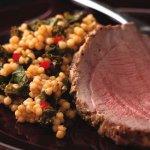 Ginger-Marinated Leg of Lamb with Israeli Couscous & Kale