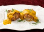 Roasted Fennel Bread Pudding with Yellow-Pepper Coulis