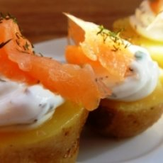 Baked Baby Yukon Gold Potatoes with Smoked Salmon, Mascarpone And Chives Recipe