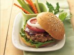 Grilled Barbecued Beef and Bean Burgers
