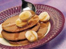 Cocoa Pancakes with Creamy Caramel-Banana Topping