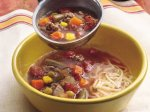 Beef 'n Veggie Soup with Mozzarella