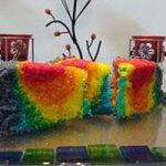RAINBOW CAKE EGGLESS AND MICROWAVED Recipe