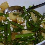 Roasted Potatoes and Asparagus with Light Blue Cheese Vinaigrette Recipe
