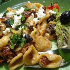 Orecchiette pasta with sun-dried tomato and black olive sauce Recipe