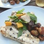Cape Cod Swordfish, with Mango, Mozzarella, and Caper Salad, and Lolita's Potato Tots Recipe