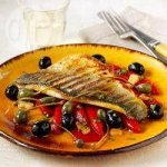 Pan-fried sea bass with Spanish olives, piquillo peppers and dry Sherry wine